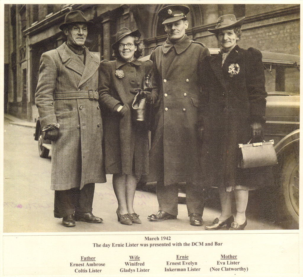 Ernie Lister DCM with his father, wife and mother
