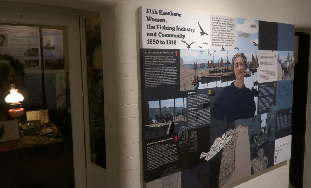 BHM Fish Hawkers display, panel images by Jo Slater